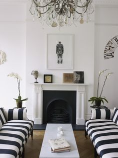 Black and white stripe couch