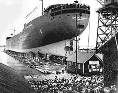 The Edmund Fitzgerald is about to be launched at the Great Lakes Engineering Shipyard in River Rouge just prior to her launching in June From The Detroit News Detroit News, Detroit Michigan, Lake Michigan, Great Lakes Shipwrecks, Edmund Fitzgerald, Great Lakes Ships, Lake Superior, Historical Society, Water Crafts