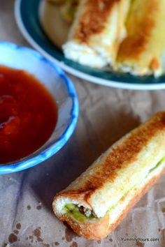 GUACAMOLE CHEESE SANDWICH ROLL UPS