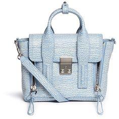 3.1 Phillip Lim 'Pashli' mini grainy leather satchel (32,375 THB) ❤ liked on Polyvore featuring bags, handbags, purses, blue, genuine leather handbags, leather hand bags, leather satchel purse, hand bags and mini satchel handbags