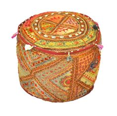 Made by hand from recycled cotton, our boho chic Patchwork Pouf features varied patterns and motifs in taupe, cranberry, hunter green and yellow. This low, round cushion is adorned with colorful tassels. Handmade of recycled cotton. Makes a fun, eco-friendly statement. Comfortable Seating,Handpicked Designs & Much More,Limited Stock! Easy Return Policy. FREE Shipping on all items.