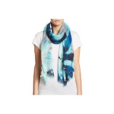Calvin Klein Printed Scarf ($17) ❤ liked on Polyvore featuring accessories, scarves, adriatic blue, calvin klein, blue scarves, floral print scarves, floral scarves and floral shawl