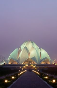 Lotus Temple, India by Kip Cole Indian Architecture, Amazing Architecture, Modern Architecture, Delhi City, Lotus Temple, Temple India, Architecture Concept Drawings, Historical Monuments, Great Places