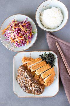 Tonkatsu with Caramelised Onion and Miso Sauce Pork Cutlets, Pork Loin, Apple Coleslaw, Red Miso, Recipe Database, Tonkatsu, Crispy Pork, Steamed Rice, Caramelized Onions
