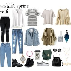 wishlist spring 2016 by biankalehoc on Polyvore featuring T By Alexander Wang, Uniqlo, Topshop, Vans, Olivia Pratt, Forever 21, Quay, Essie, Natural Life and women's clothing