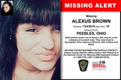 ALEXUS BROWN, Age Now: 16, Missing: 07/24/2016. Missing From PEEBLES, OH. ANYONE HAVING INFORMATION SHOULD CONTACT: Adams County Sheriff's Office (Ohio) 1-937-544-2314.