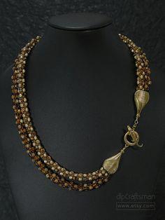 Statement Moc Croc Necklace, Double-Strand Kumihimo Necklace, Crocodile Focal Necklace by dlpCraftsman on Etsy