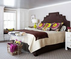 Bright colors and concentrated patterns make a beautiful statement in this glamorous bedroom: http://www.bhg.com/decorating/lessons/expert-advice/how-to-pull-a-look-together/?socsrc=bhgpin012714considerfunction&page=10