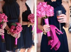 Navy blue, pink, and accents of silver/ivory. The bridesmaid attire inspiration pics.