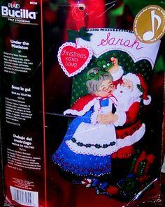 Other hand embroidery kits 28142 vintage paragon felt christmas bucilla santa under the mistletoe felt musical christmas stocking kit solutioingenieria Images