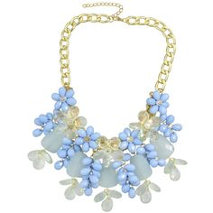 Blue Beautiful Resin Chunky Statement Flower Necklace ($99) ❤ liked on Polyvore featuring jewelry and necklaces