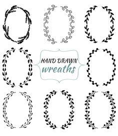 Hand drawn wreaths and laurels. Ink drawn. Clip art set. 8 black wreaths, 8 laurels. png,transparent background, instant download by annakristal on Etsy