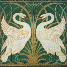 Walter Crane-Wallpaper Design for panel of Swan, Rush & Iris