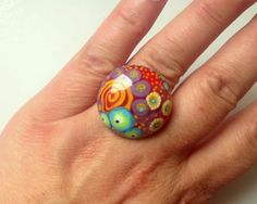 °° SALSA °° lampwork bead RINGTOP by jasmin french