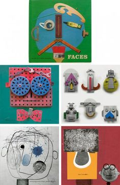 Faces is an awesome book by MillerGoodman (the same people who created the wonderful timber shape maker faces). I happened to find a copy to borrow from my local library. At the time I loved it more than my son.  The faces they create from found objects are great.