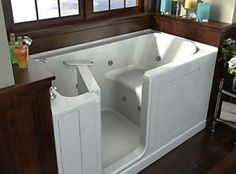 This is a walkin bath tub. It is advertised to the elderly, but it is also very useful for those with disabilities such as lower limb amputee, MS, or any other that may not be able to cross over the regular bathtub barrier. it also has a seat inside.