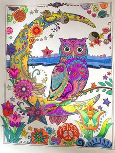 Coloured By Myra Joyce. From Creative Haven Owls..