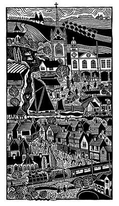 Kings Little Town - Linocut by Hugh Ribbans