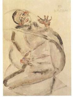 Egon Schiele, Self portrait as a prisoner  on ArtStack #egon-schiele #art