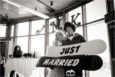 Mammoth Mountain Snowboarding Wedding Photos with John and Karen | Minaret Photography Repinned by http://www.mammothmtnchalets.com