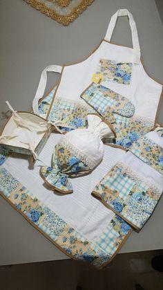 Kit Cozinha Floral/Azul - 7 peças