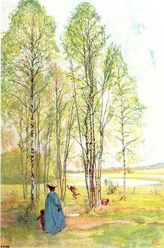 Sortie, aquarelle de Carl Larsson (1853-1919, Sweden)