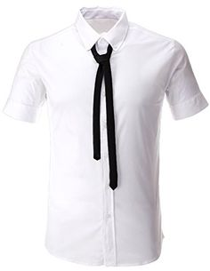 FLATSEVEN Mens Tailored Short Sleeve Dress Shirt with Black Tie (SH1004) White, XL FLATSEVEN http://www.amazon.com/dp/B00L3280TC/ref=cm_sw_r_pi_dp_tXe3ub0C4TM7N #FLATSEVEN #Men #Dress #Shirt  #Tie #Fashion
