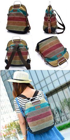 Retro School Multifunction Backpacks Shoulder Bag Handbag Splicing Colorful Striped Canvas Backpack for big sale! #Backpack #striped #canvas #Bag #retro #school