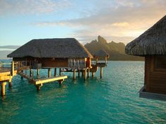 "Overwater ""bungalow"" with view of Bora Bora at Four Seasons Resort, Society Islands"