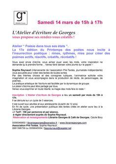 Samedi 14 mars de 15h à 17h L'atelier d'écriture de Georges