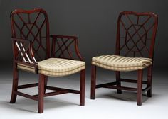 Chairs Pre-1800 Helpful Antique George Iii Chinese Chippendale Mahogany & Velvet Cockpen Armchair C.1770 Superior Materials