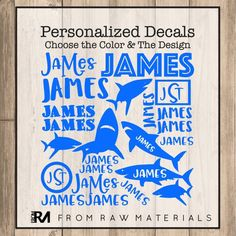 Shark Name Decal Sheet Name Stickers Vinyl Decal Back to School Name Labels Custom Name Stickers Custom Decals