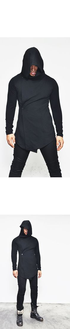Outerwear :: Coats :: Avant-Garde Rick Button Jersey Hood-Coat 61 - Mens Fashion Clothing For An Attractive Guy Look