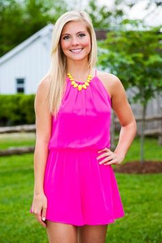 Girls Night Out Romper-Hot Pink