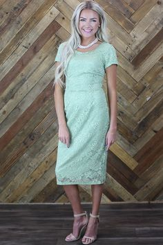 """""""April"""" Modest Dress in Sage Green Lace from Jen Clothing"""