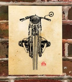 Vintage a1 print poster for your glass frame Englebert Bikes cafe racer painting