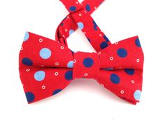 A personal favorite from my Etsy shop https://www.etsy.com/listing/193689411/red-polkadot-bow-tie-blue-polka-dot-tie