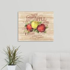"""GreatBigCanvas """"Apple Orchard Sign"""" by Susan Winget Canvas Wall Art, Multi-Colored Apple Farm, Apple Orchard, Fruits Images, Botanical Wall Art, Fruit Art, Detail Art, Rooms Home Decor, Abstract Backgrounds, Vintage Walls"""