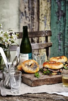 My wedding reception: wine and bagel sandwiches...and homemade sangria