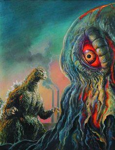 Godzilla vs Hedorah art by Bob Eggleton
