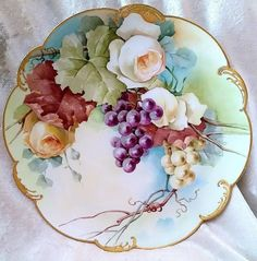 """Gorgeous Vintage LImoges France Hand Painted """"White & Yellow from labazaar on Ruby Lane Plate Wall Decor, Plates On Wall, Plate Display, China Painting, Yellow Roses, China Porcelain, Vintage Beauty, Ceramic Pottery, Tea Cups"""