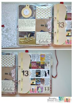 like the dividers (could use manila folder to do something similar) and I really like the extra-small photos of books, movies, etc. on the page behind the divider (bottom photo)