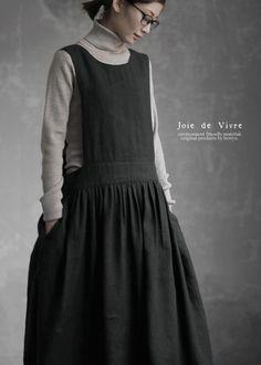 Modern Hijab Fashion, Mori Fashion, Korean Fashion Trends, Womens Fashion, Fashion Ideas, Moda Natural, Apron Dress, Linens And Lace, Linen Dresses