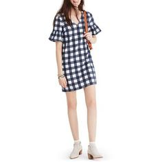 Women's Madewell Leighton Plaid Bell Sleeve Dress