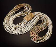 """""""Round and Square Necklace"""" Natural Diamonds, Pearls, Coral and Gold   Vicki Eisenfeld"""