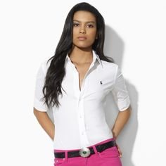 Super-Slim Kelsa Stretch Shirt in white · Ralph Lauren StylePolo ...