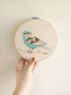 Bird embroidery by Indi Maverick, via Behance Embroidery Hoop Art, Cross Stitch Embroidery, Embroidery Patterns, Geometric Embroidery, Diy Broderie, Fabric Art, Cross Stitching, Needlework, Creations