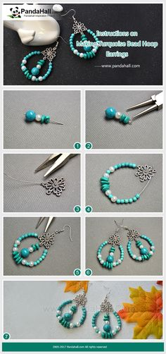 How to Make Turquoise Bead Hoop Earrings The main materials of the earrings are turquoise beads and glass pearl beads. And it only need take four steps to make the earrings!