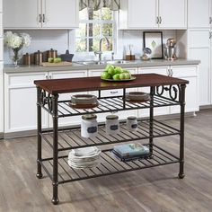 Home Styles Richmond Hill Black Kitchen Utility Table With Wood Top 5063 94