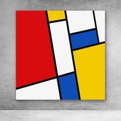 Abstract Canvas Wall Art, Diy Canvas Art, Wall Canvas, Geometric Shapes Art, Abstract Geometric Art, Piet Mondrian, Art Deco Paintings, Trippy Painting, Shape Art